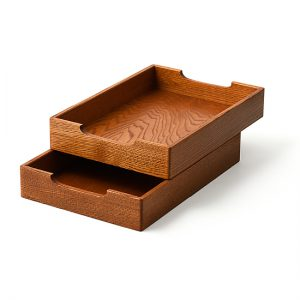 Two-tier sliding trays / Japanese chestnut, finished with polyurethane / Width 25.5 × Depth 36 × Height 12 cm / Weight 1.3 kg / ¥16,500 (including tax)