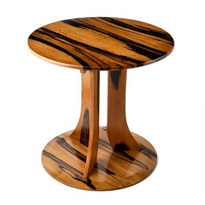 Round table / Black persimmon, finished with layers of lacquer (Fuki-Urushi) / Table: Diameter 80; Lower part: Diameter 50; Total height: 74 cm / Market price